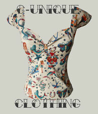 730N0 CSTD Damen Bluse Top Shirt 50er Rockabilly Polka-Dot Millitary gepunktet