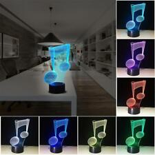 3D Music Note Visual Night Light 7 Color Changing Table Desk Lamp Kids Gift nice