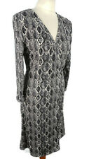 Mango Size M 12 14 Black White Snakeskin Long Sleeve Wrap Below Knee Midi Dress
