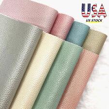 8PCS Shiny Pearl Litchi Faux Leather Fabric Sheets Vinyl Bundle Pack US STOCK