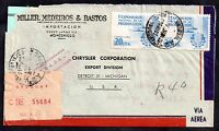 Uruguay 1956 Airmail Registered Postal History cover to Detroit WS3934