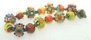 OliveStuart Handmade Lampwork Beads 15 bright round