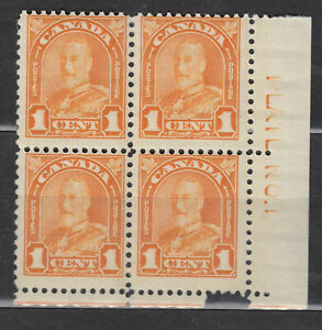 1930-1931 #162 1¢ KING GEORGE V ARCH/LEAF ISSUE LOWER RIGHT PLATE BLOCK #1 F+NH