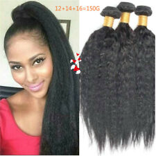 "12""14""16"" Kinky Straight 150g 3bundles human hair extensions Can be Ironed"