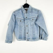 Vintage Youth Kids Boys Wrangler Denim Jean Jacket Medium Wash Size Medium 5-6