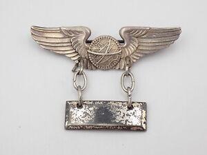 "Original WWII US Army 2"" Navigator Wings Sterling Silver Lieutenant Bar Pin"