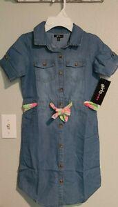 Girls 💗💗💗 Short Sleeve Button Up Denim look Dress Size 10/12