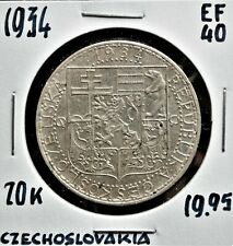 1934 Czechoslovakia 20 Korun EF-40