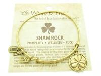 Wind and Fire Shamrock Charm Wire Bangle Stackable Bracelet Made In The USA Gift