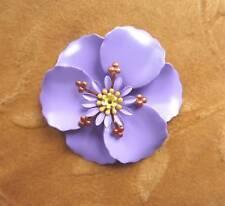 3 vintage metal,enamel flower bead,lilac poppy,58m