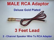 2 Channel Speaker Wire RCA Adapter Amp Receiver Powered Speakers GOLD MALE 3ft