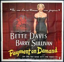 PAYMENT ON DEMAND HUGE BETTE DAVIS PORTRAIT1951 SIX-SHEET