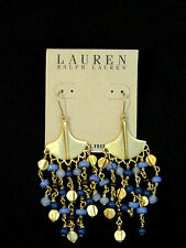 NWT Ralph Lauren Earrings Dangle Beaded Gold Blue Nickel Free Gift Box Woman NEW