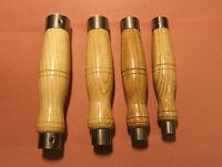 4 x Ash Chisel Handle,Double Hoop Steel Ferrule,Sheffield Made, 4 sizes.