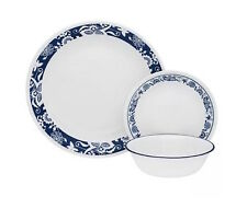 Corelle Blue Dinnerware Set Kitchen Dining Dishes 12 Plates Bow 48 Piece