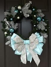 Light Blue Bow Christmas Wreath Handmade Wreath - Blue Christmas
