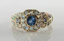 Lush 9 KT 9K Oro Blu Zaffiro Opale 27 Pietra Art Deco INS Anello Free Size