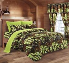 "Regal Comfort ""The Woods"" Lime Camo Queen Comforter w/ Sheets & Pillowcases 7pcs"