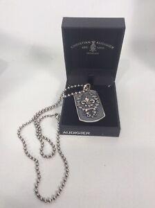 Christian Audigier  sterling Silver 925 Fluer De Lis Tag Pendant Necklace