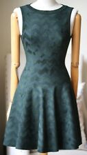 AZZEDINE ALAIA GREEN VELOUR ZIG ZAG SKATER DRESS FR 38 UK 8/10