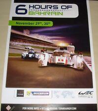 Le Mans FIA WEC World Endurance 6 Hours Bahrain 2012 Rare Official Event Poster