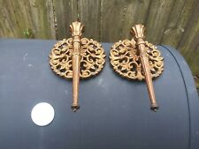 2 Vintage Homco #4148 Gold Plastic Ornate Wall Sconces/Candle Holders