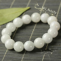 Natural White Jade Jadeite Jewelry Stretch Beads Bracelet Fashion Lucky Gift Hot