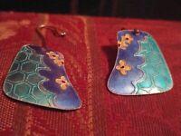Vintage Chinese Export Guilloche Enamel Sterling Silver Earrings