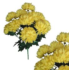 "12-5"" Yellow Ball Mums 22"" Bouquet Wedding Bridal Party Home Decor Silk Flower"