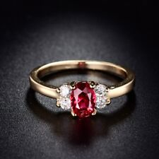 18k Gold Filled Fashion Women Red Garnet Crystal CZ Rings Sz5-9 Jan Birthstone