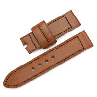 24mm Brown Thick Genuine Leather Watch Band Strap Bracelet For Panerai Luminor