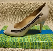 Hot In Hollywood High Heel Moto Zip Pumps Shoes Size 8M Grey Patent Preowned VGC