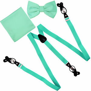 New Y back Men's Vesuvio Napoli Suspenders Bowtie Hankie clip on Aqua Green