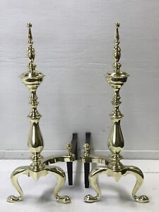 """Antique Vtg Brass Fireplace Andirons 21"""" Art Deco Victorian Chippendale, Federal"""