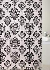 Damask Black & White Peva 180x180cm Shower Curtain Jacquard Water Repellent
