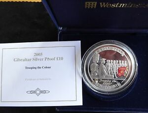 2005 SILVER PROOF 5OZ GIBRALTAR £10 COIN BOX + COA TROOPING OF THE COLOUR 1/950