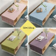 50X150cm Cotton Linen Rectangle Tassel Solid Tea Table Cloth Cover Home Decor