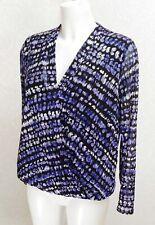 M&Co black blue white stretch mesh draped V neck Elasticated waist blouse top 14