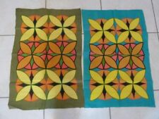 NEW VINTAGE TEA TOWELS x 2 Psychedelic Pure Linen 1960's Style