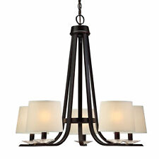 Oil Rubbed Bronze 5 Light Chandelier With Shades