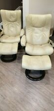 Stressless Wing Classic Recliner Chair with footstool x 2