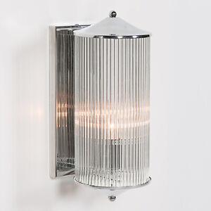 Art Deco Chrome Fluted Column Glass Wall Light Sconce Lamp