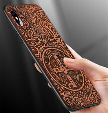 Phone Fitted Cover Protective Case Natural Wood Carved TPU for iPhone 11 XS Max