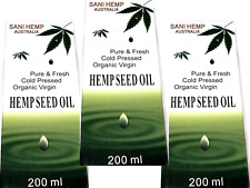 3 x 200ml SANI HEMP SEED OIL Pure Fresh Organic Virgin Cold-Pressed ANTI AGING