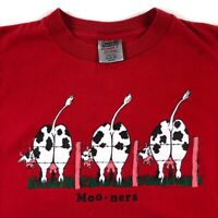 Vtg 80s T Shirt Sneaky T's Funny Cow Mooners Single Stitch Red 1987 Short Sleeve