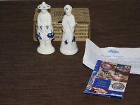 "VINTAGE KITCHEN 5"" HIGH JAPANESE MAN & WOMAN CERAMIC SALT & PEPPER SHAKERS"