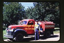1950 Man w Chevy Standard Oil Gas Station Tanker Truck, Original Photo Slide a9a