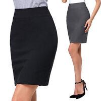 Women Bodycon OL Office Pencil Skirt Midi Party  Black/Dark Grey Zipper in Left