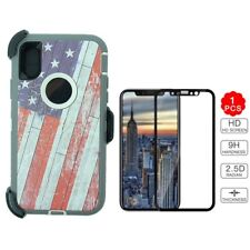 USA Flag For iPhone X Defender Case & Tempered Glass Screen & Clip Fit