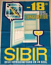 Sibir Refrigerator 1950s original French poster. NOT a repro!